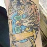 Colourful usmc eagle and anchor tattoo