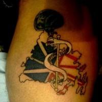 White snake in helmet tattoo