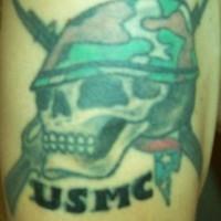 Usmc skull in  helmet tattoo
