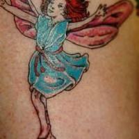 Happy little fairy coloured tattoo
