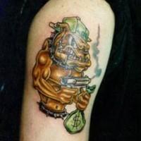 Humanisierte Bulldogge mit Gewehr und Geld Tattoo