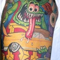 mostro topo con macchinagialla tatuaggio colorato