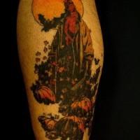 Hellboy sulla luna piena tatuaggio