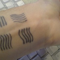 Four element symbols from fifth element on wrist