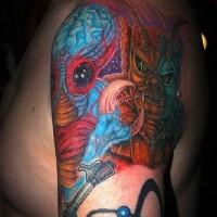 Blu e rosso alieni tatuaggio