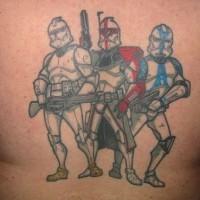 Tre stormtrooperi dal film Guerre stellari tatuaggio