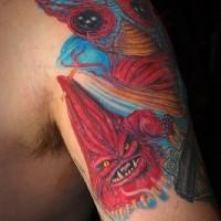Blu e rosso bestie tatuaggio sulla spalla