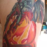 Bobba fett in fuoco guerre stellari tatuaggio