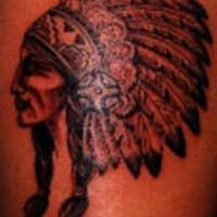 Indian chief profile tattoo
