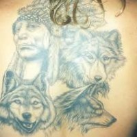 Indian chief in wolf tribe tattoo on back
