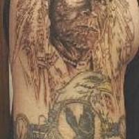 Old indian chief with eagle tattoo