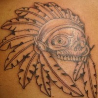 Crazy indian skull tattoo
