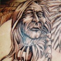 Black ink red skin chief tattoo
