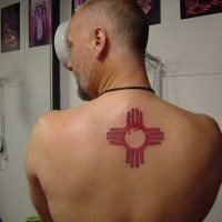 Tribal indian symbol tattoo on back