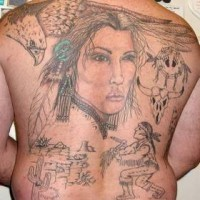 Girl and eagle with indians tattoo on back