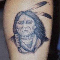 Old native american chief tattoo