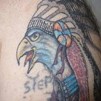 Native american humanized eagle  tattoo
