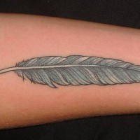 Blue bird feather tattoo