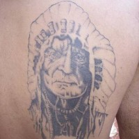 Old indian chief  tattoo on back