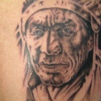 Old indian chief monochrome tattoo