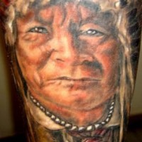 Indian chief coloured tattoo