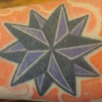 Purple and black decagonal star tattoo