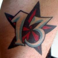 Lucky number thirteen in star tattoo