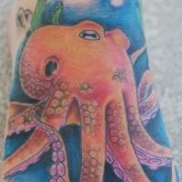 Colourful octopus in sea tattoo