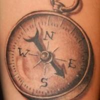 3d realistic compass tattoo