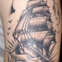 Homeward amazing sailing ship tattoo