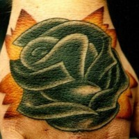 Old school tattoo with black rose