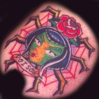 Old school colored tattoo with girl, spider, rose and inscription poison