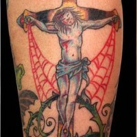 Traditional colorful tattoo with man on the cross