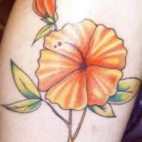Orange hibiscus blossom tattoo