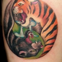 Panther and tiger yin yang tattoo