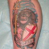 Patriotic england tattoo with lion holding shield