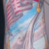 Patriotic beutler american flag  tattoo
