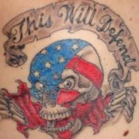 Skull in american flag colour tattoo