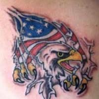 Usa flag and eagle under skin rip tattoo