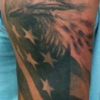 American eagle and flag black tattoo