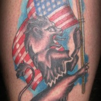 Rampant lion with usa flag tattoo