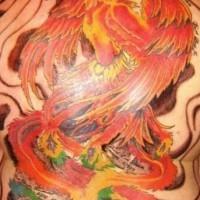 Fenice rosso tatuaggio sulla schiena piena