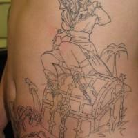 Pirate booty  black ink tattoo