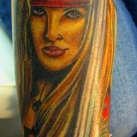 Beautiful pirate girl with sword tattoo