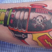 Pirate ray gun tattoo in colour