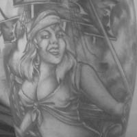 Pirate ship and girl monochrome tattoo