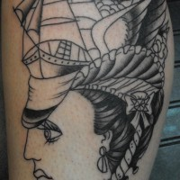 Pirate ship on woman head