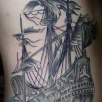 Detailed black pirate ship tattoo