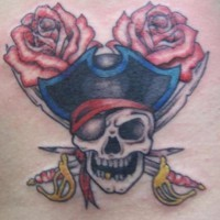 Pirate skull and roses tattoo