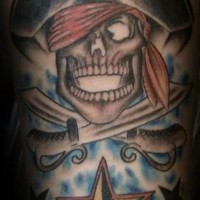 Pirate skull and crossed swords with star